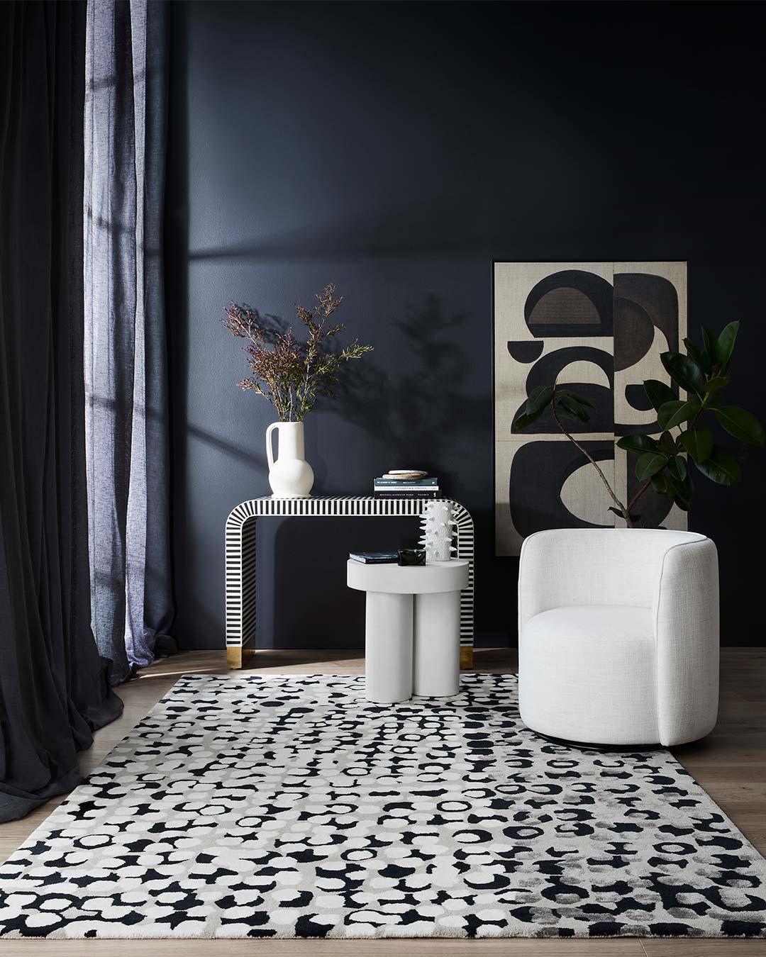 Styled image of painterly Kusama rug