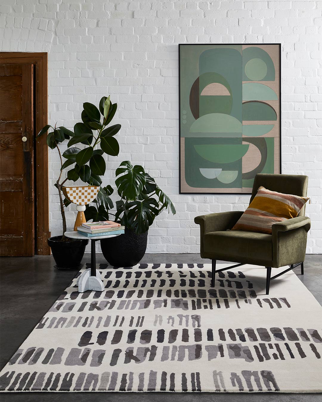 styled image of painterly Markings rug