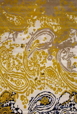 Persian rug in avocado colourway overhead image
