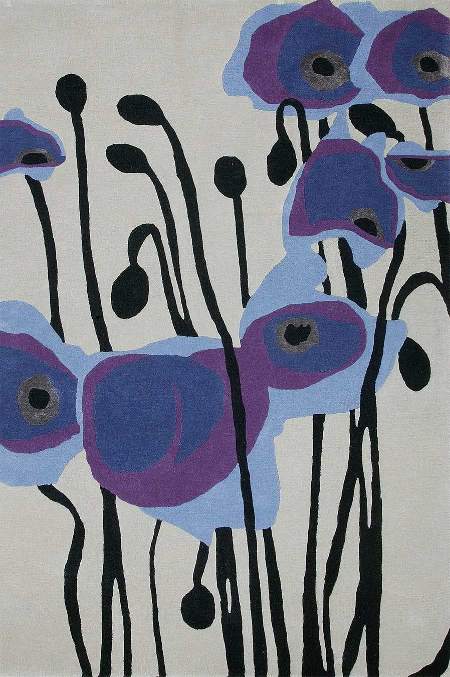 Poppy rug in blue colourway overhead image