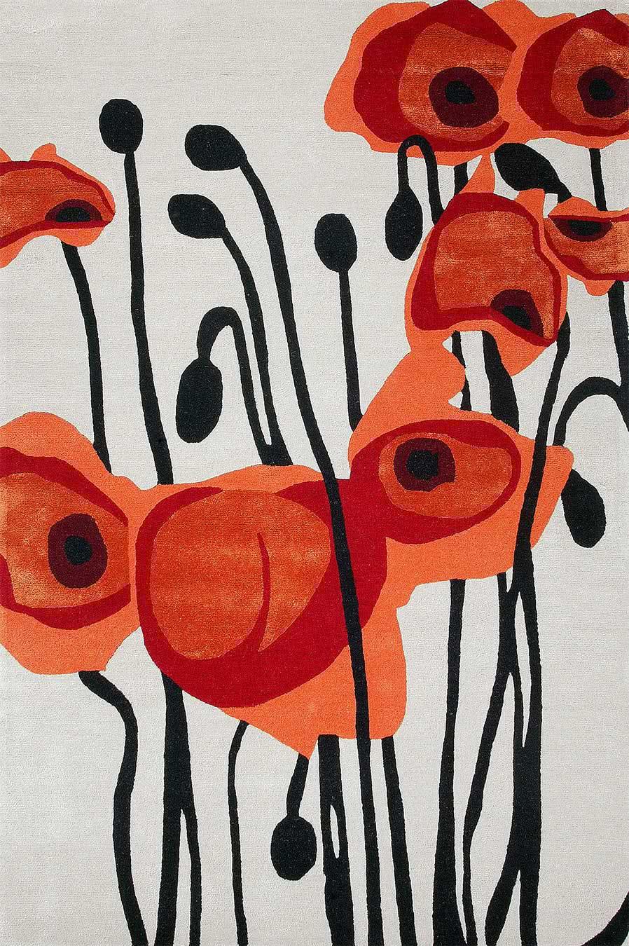 Poppy rug in toledo red colourway overhead image