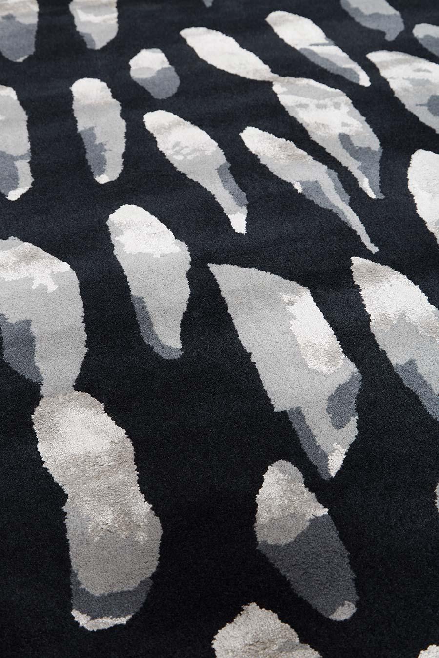 Detailed image of charcoal Rain Drops rug