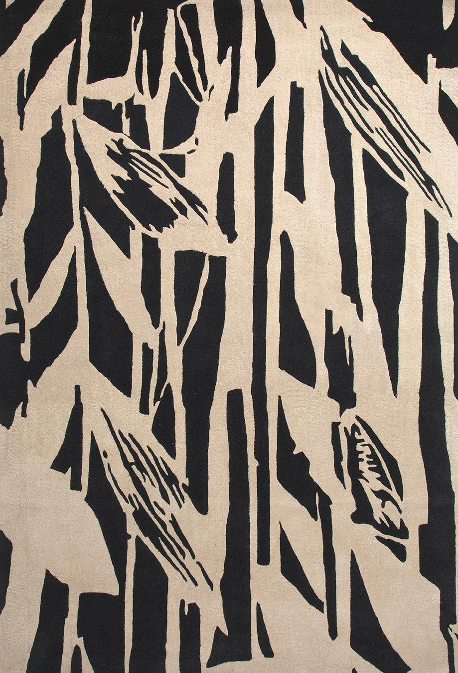 Reeds rug in dark night colourway overhead image