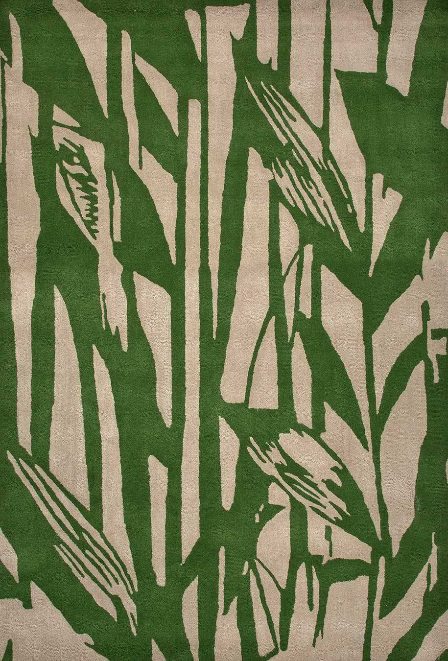 Reeds rug in green colourway overhead image