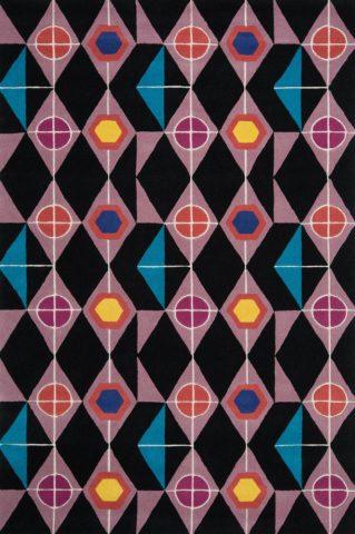 Steampunk rug in dark night colourway overhead image