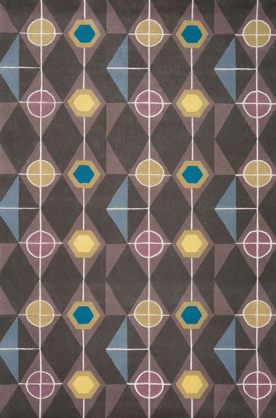 Steampunk rug in gunmetal colourway overhead image