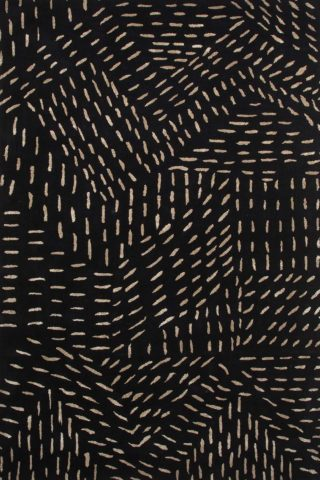 Stitched up rug in black colourway overhead image