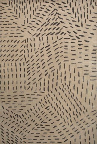 Stitched up rug in cement colourway overhead image