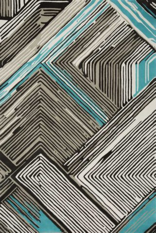Travis rug in blue colourway overhead image