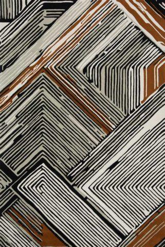 Travis rug in copper colourway overhead image
