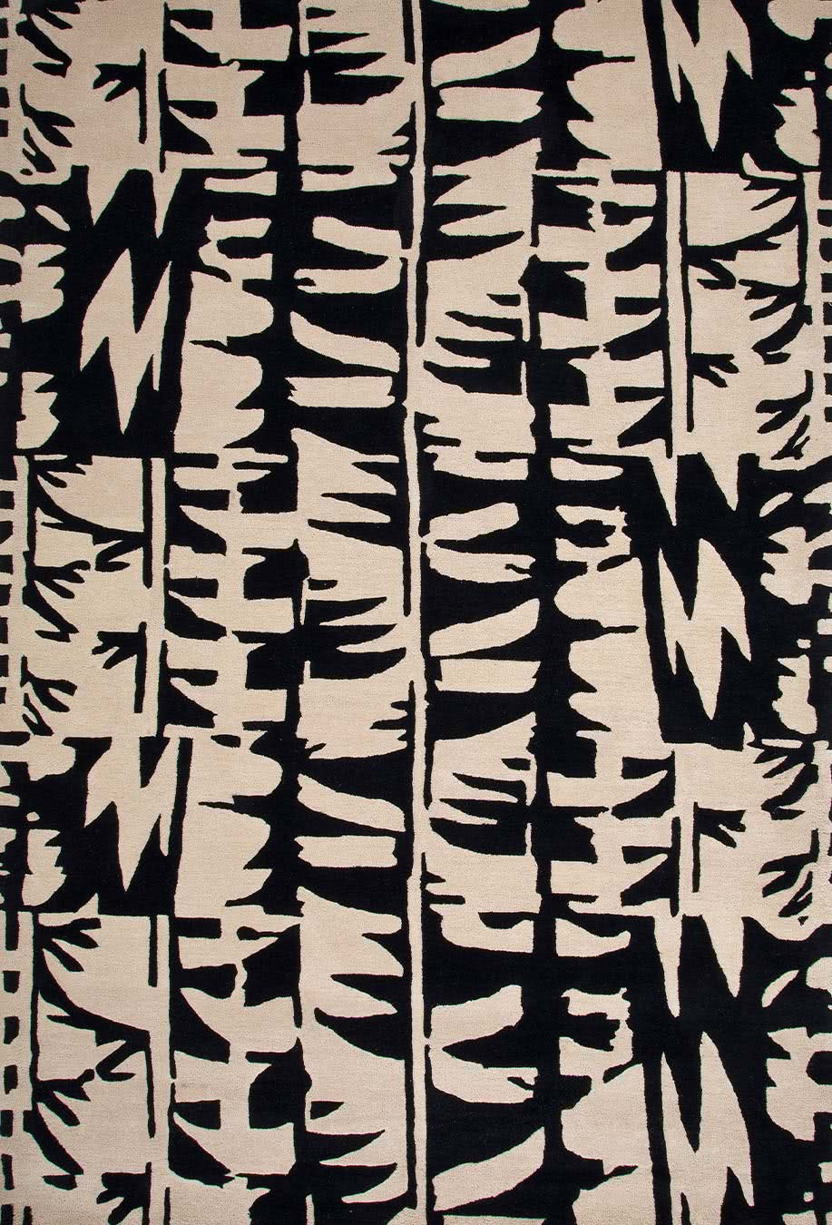 Tribal Dance rug in dark nighrt colourway overhead image