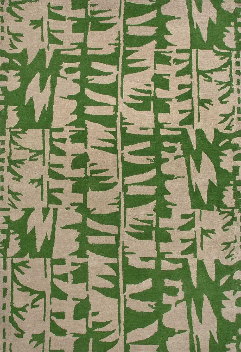 Tribal dance rug in green colourway overhead image