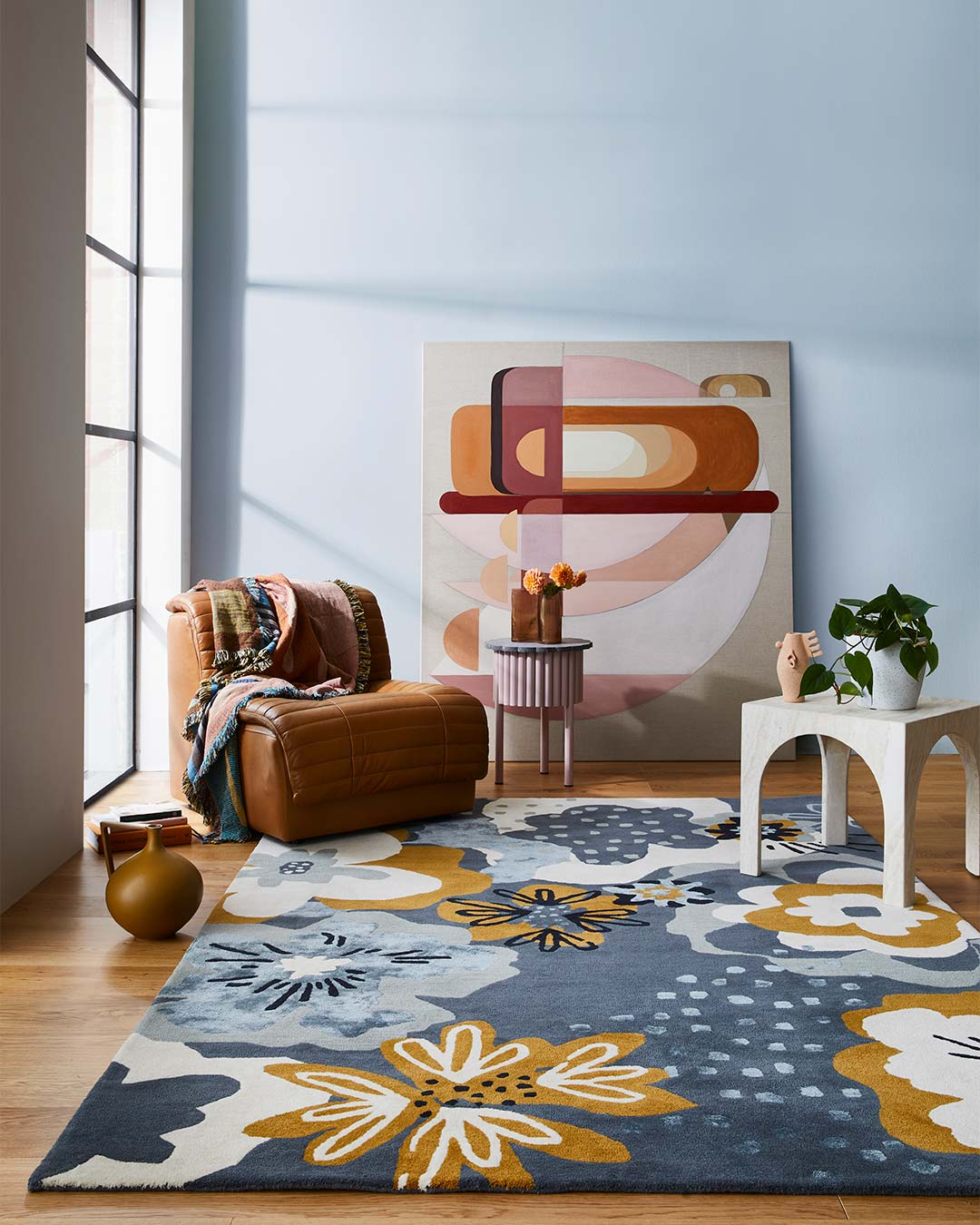 styled image of floral Twiggy rug