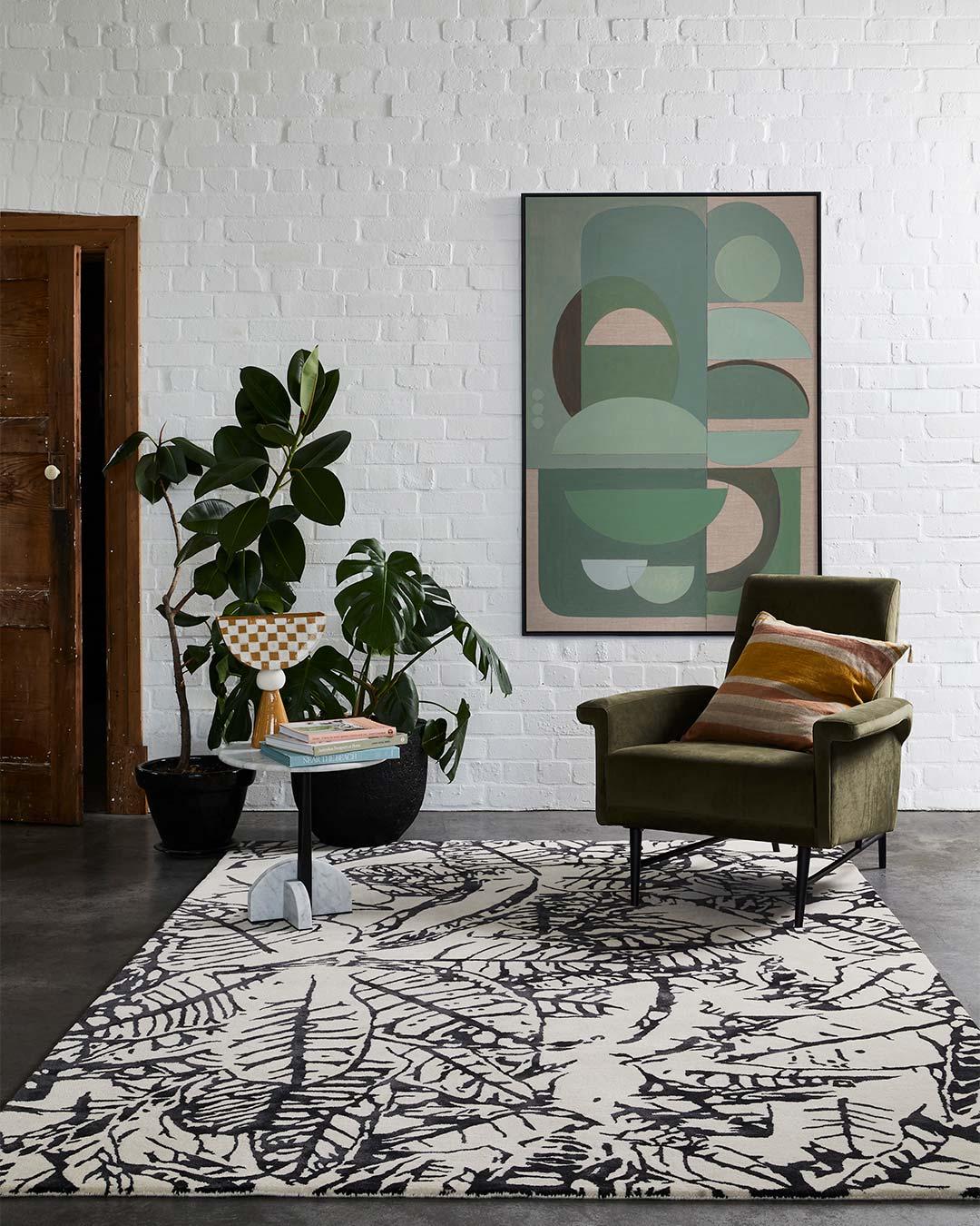 styled image of botanical Variegated Leaves rug