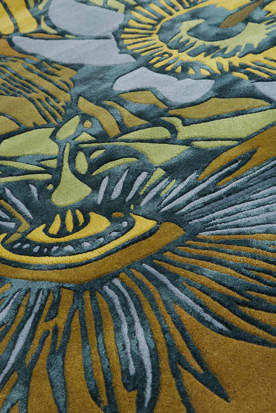 Close up image of floral Wailoa rug
