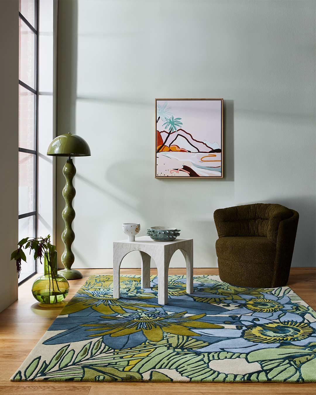 Living room image of floral Wailoa rug