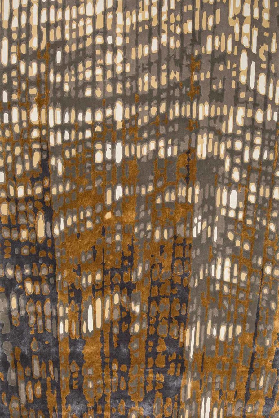 Overhead view of our modern, textured Eden rug in brown and gold