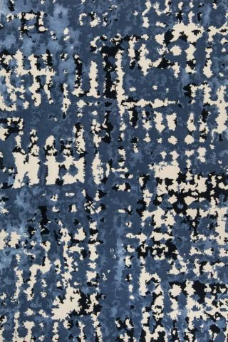 Overhead detailed view of our modern, textured Zandt rug design in blue
