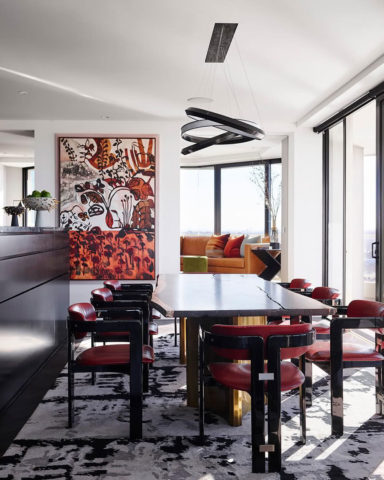 Custom Etched dining room rug by Hare + Klein x Designer Rugs