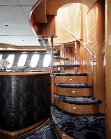 Custom hand tufted stair runner for yacht