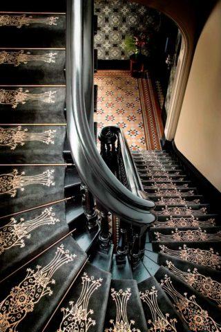 Custom hand tufted stair runner by Catherine Martin