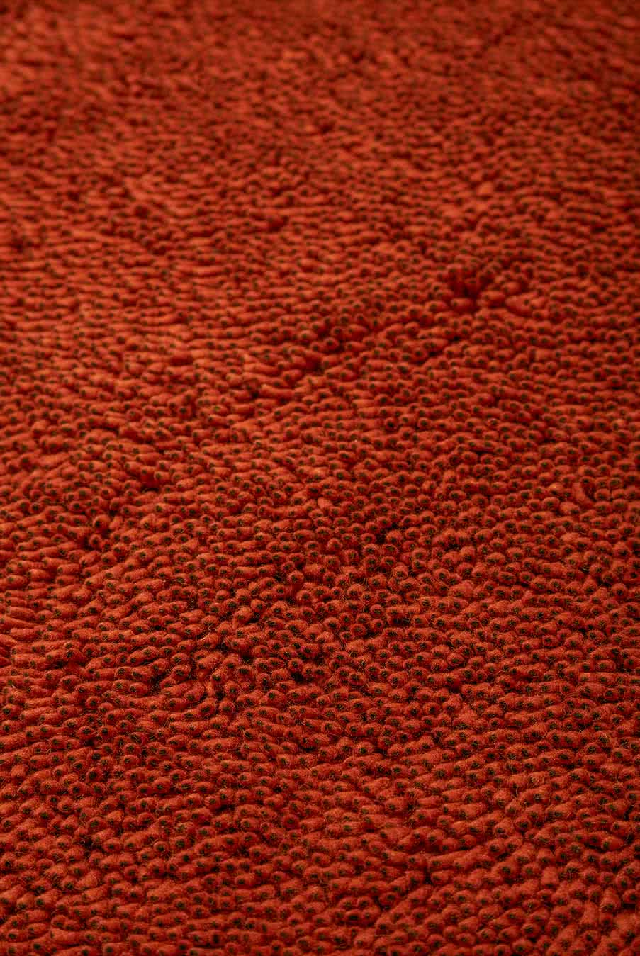 Close up view of textured Coral Shag rug in red colour
