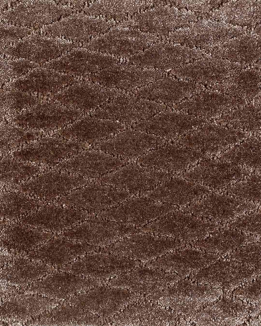 Close up view of textured Diamond Velour rug in taupe brown colour