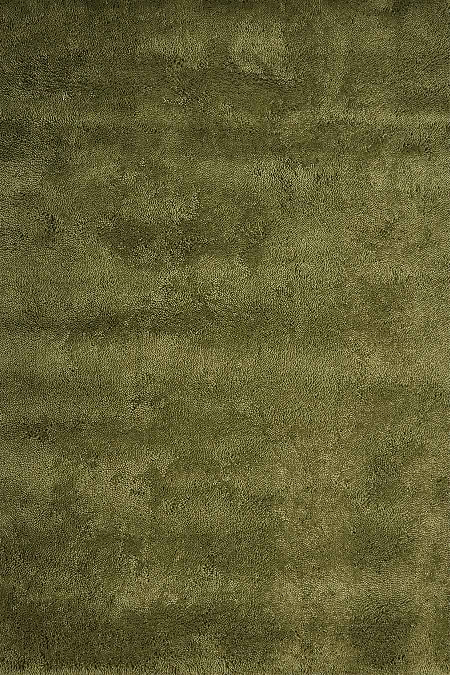 Overhead view of textured Napoleon Shag rug in olive green colour